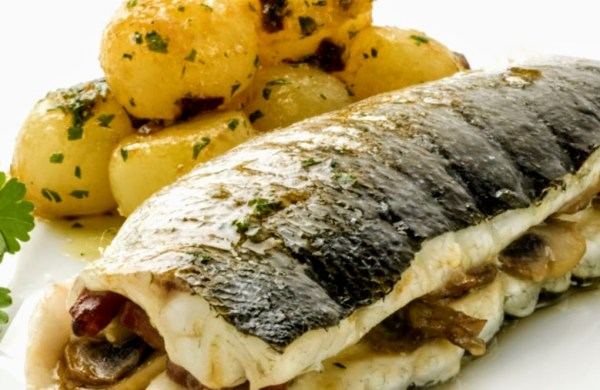 Picture of baked sea bass.