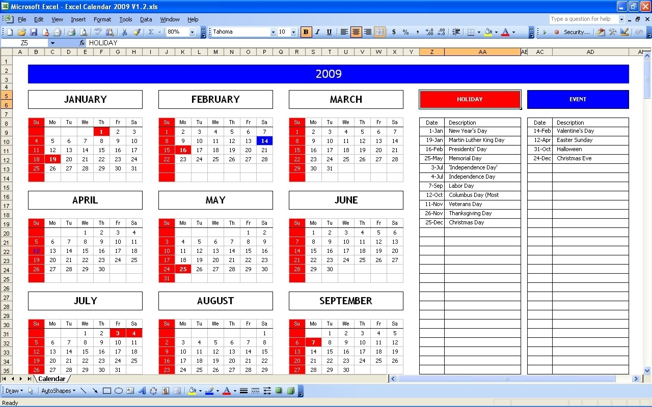 Year View Calendar Excel
