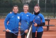 Virginia Sadi, Fernanda Secinaro y Florencia Rossi en el último y único entrenamiento previo al viaje