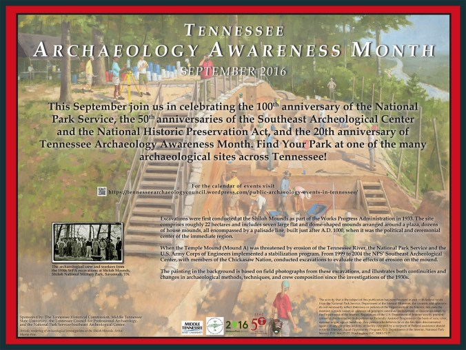 The 2016 Tennessee Archaeology Awareness Month poster, highlighting the painting that illustrates the archaeology of the Shiloh Mounds Site in celebration of the 50th Anniversary of the Southeast Archeological Center. Artist: Martin Pate.