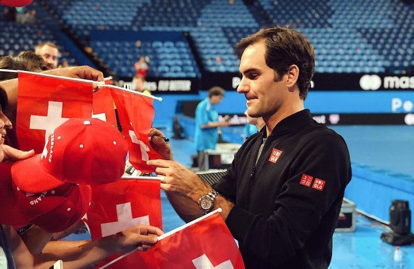 Roger Federer singing for fans in the Australian Open 2019
