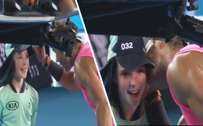 Rafael Nadal Kisses a ball boy after emotional gesture