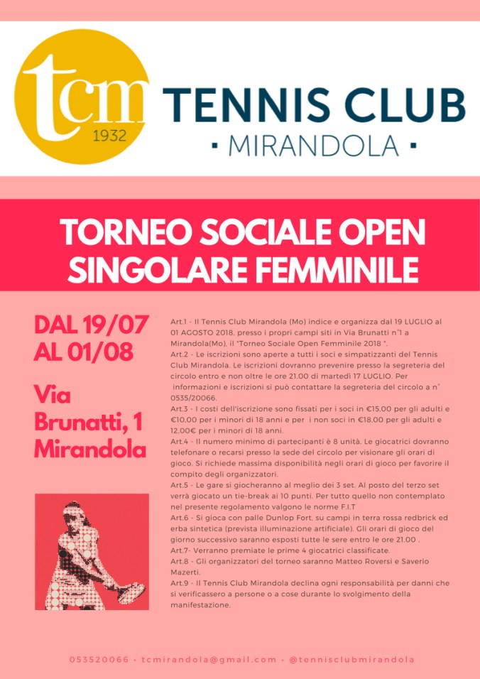 TCM - TORNEO SOCIALE OPEN SINGOLARE FEMMINILE