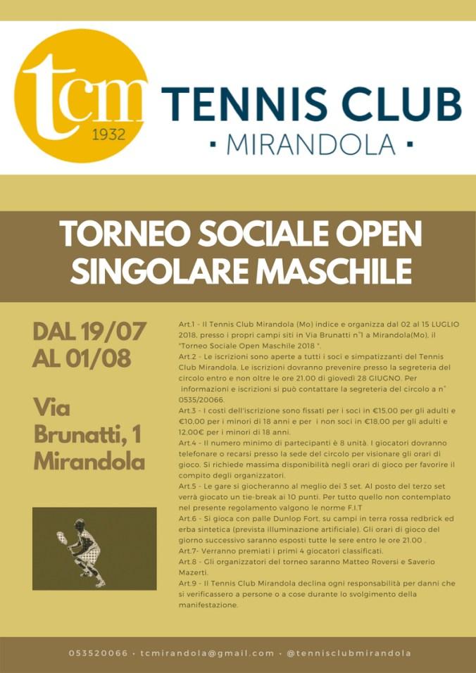 TCM - TORNEO SOCIALE OPEN SINGOLARE MASCHILE