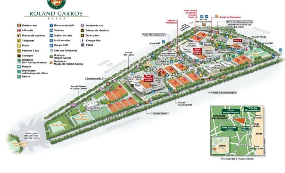 Stade Roland Garros Grounds Map