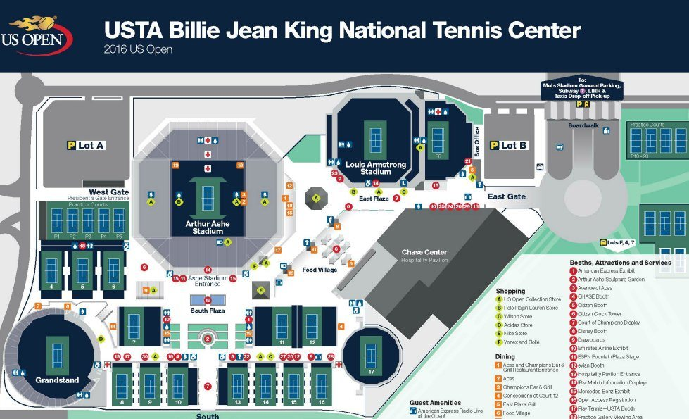 US Open Tennis NYC Tickets Courts Coupons BOGO Kids Day - Us Open Tennis Map