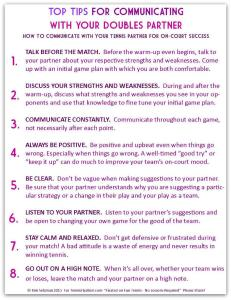 Top Tips for Communicating with Your Doubles Partner - Tip Sheet
