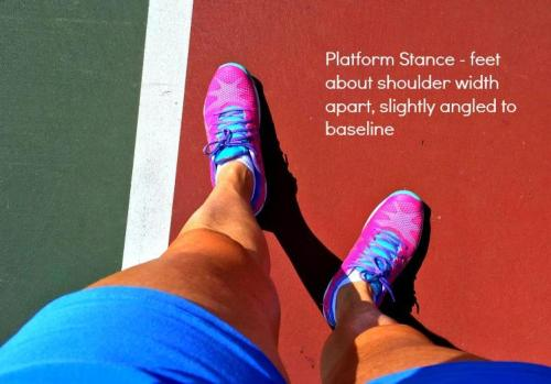 Position of feet on platform service stance in tennis