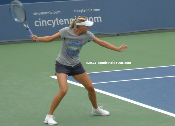 Maria Sharapova pracitce visor Nike shirt shorts images photos pictures Cincinnati Open 2011