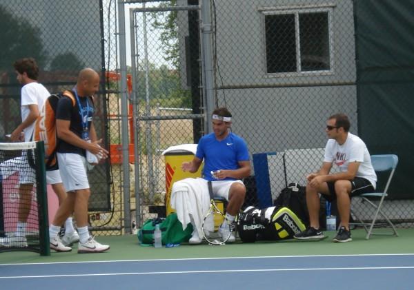 Rafa Nadal practice court headband guy talk Cincinnati Open 2011 tennis photo picture