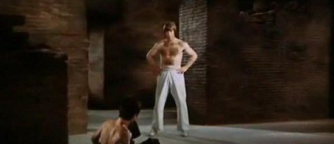 Chuck Norris knock down Bruce Lee fight Dragon screencaps images photos pictures