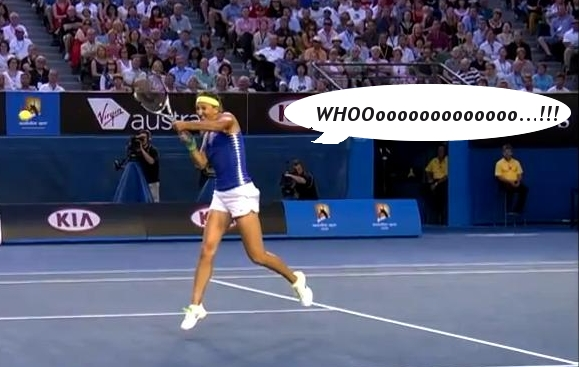 Victoria Vika Azarenka Whoo grunt shreik white shorts yellow headband pictures photos images screencaps