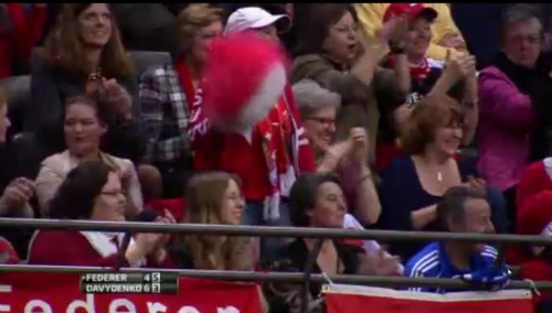 Roger Federer fan girl pom pons poms red white Swiss RF cheering photos images Rotterdam screencaps pictures