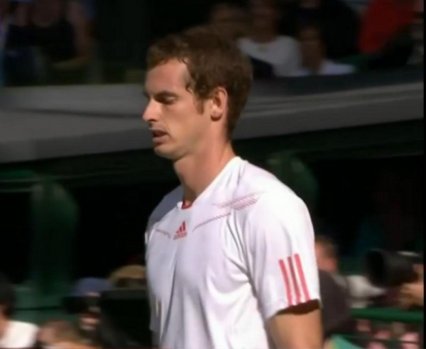 Murray cringes after hitting Tsonga Wimbledon photos pictures semi-final 2012