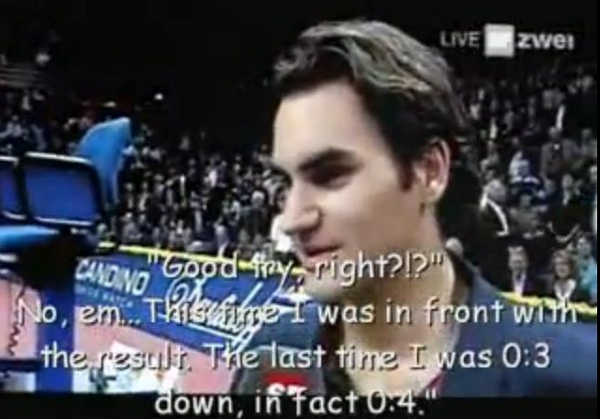Roger Federer funny Basel interview Swiss German English subtitles translation screencaps