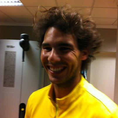 Rafael Nadal Rafa tweets picture of post gym hair after workout crazy hairdo