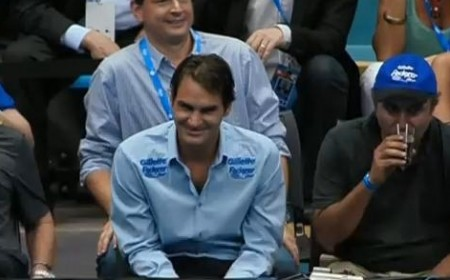 Roger Rog Federer big smile Brazilian tour tennis blue shirt photos pictures