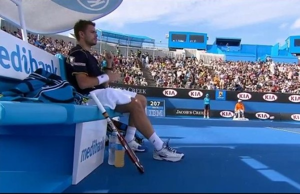 Stan Wawrinka changeover break sitting seated serene contemplation focus pictures images photos screencaps