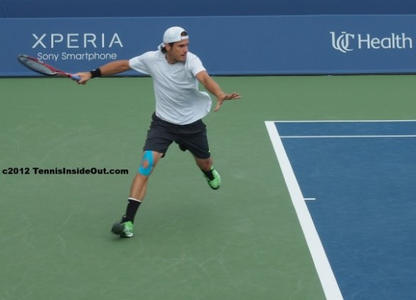 Cincinnati Open Tommy Haas running forehand white hat knee tape handsome photos pictures