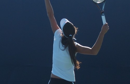 Ana Ivanovic serve ponytail long hair visor pictures images photos