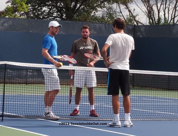 Severin Luthi Stanislas Stan Wawrinka Roger Federer Cincinnati Open 2012 pracitce courts photo