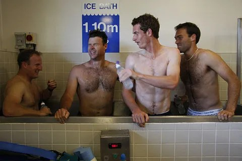 Andy Murray abs ice bath pics