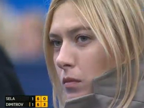 Maria Sharapove death look stare down Grigor Dimitrov match Queens 2013 pics