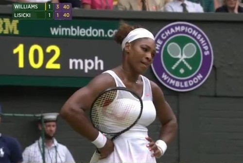 Serena Williams hands on hips bad shot Lisicki match loss Wimbledon white dress Wilson racquet pictures photos