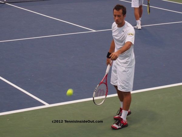 Philipp Kohlschreiber serving doubles Western and Southern Open racquet ball 2012
