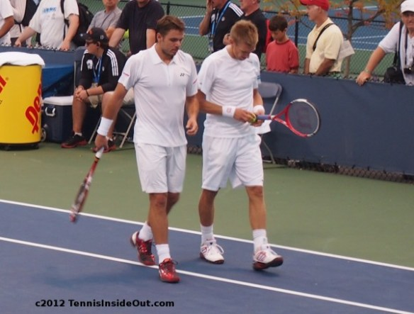 Stan Wawrinka Cincinnati Open doubles Jarkko Nieminen talking chatting plotting images pics