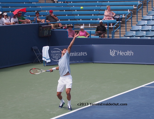 Girgor Dimitrov beautiful serve arch grandstand Nico Almagro match Cincinnati Masters photos