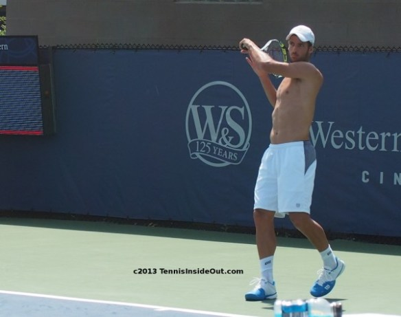 Cincinnati Open Feliciano Lopez forehand swing lefty shirtless naked chest abs photos