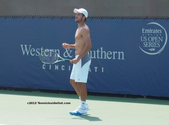 Feli Lopez Western and Southern Open practice 2013 shirtless abs pecs chest tennis tan photos