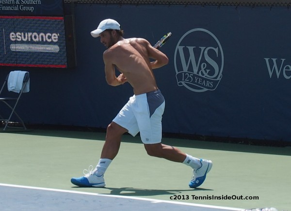 Feli Lopez backhand shirtless muscles back naked practice Cincy 2013 pics