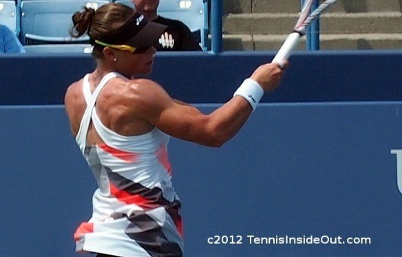 Samantha Sam Stosur Western and Southern Open Cincinnati Masters forehand shoulder back muscles criss-cross tennis dress photos pictures images