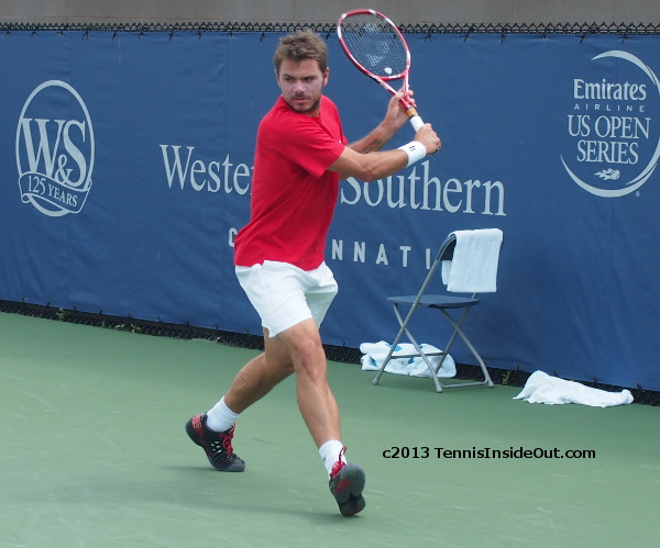Stan Wawrinka practice backhand Cincy