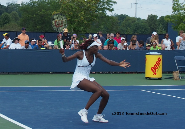 Venus Williams white and black Eleven dress Cincinatti practice photos 2013