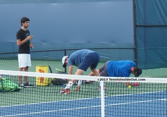 Tommy Haas Christian Groh sexy stretching exercises behind backside Cincinnati 2013 photos