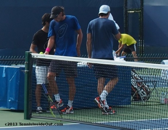 Tommy Haas coach Christian Groh hottie tennis players sexy sweaty guys boys towel break Cincy practice Western and Southern Open 2013