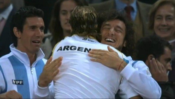 Juan Monaco Davis Cup victory hug with David Nalbandian doubles over Spain pics