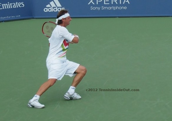 David forehand follow-through tennis court Cincy