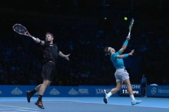 Stanislas Stan Wawrinka Rafael Rafa Nadal airborne no look backhands World Tour Finals 2013