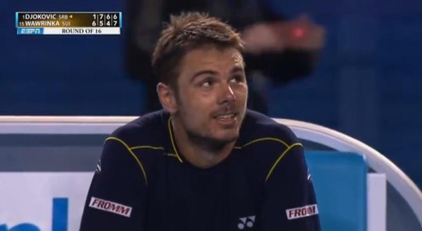 Stanislas Stan Wawrinka grin after winning fourth set Australian Open against Novak Djokovic 2013 screencaps pics