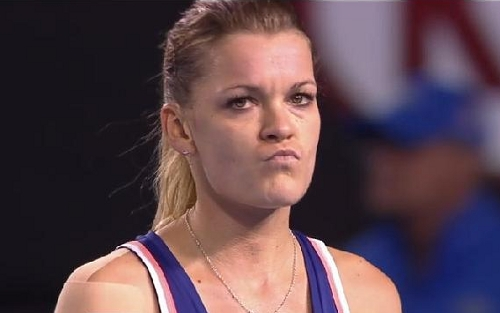 Agnieszka Radwanska puckered bitch please expression Muguruza match Austrlain Open pics 2014