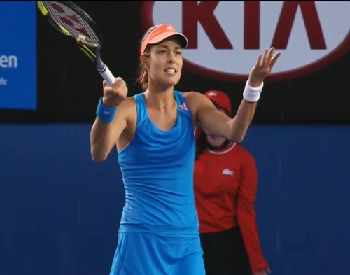 Ana Ivanovic WTF arms raised angry gesture bad line call won challenge Samantha Stosur match photos blue dress Aussie Open