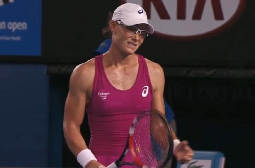 Samantha Stosur Australian Open cringe Ana Ivanovic match photos hot pink dress
