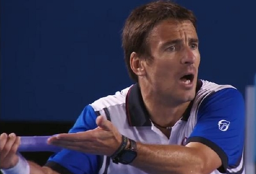 Stan Tommy Robredo match Aus Open 14 Tommy arguing gesturing overturned line call angry pictures photos