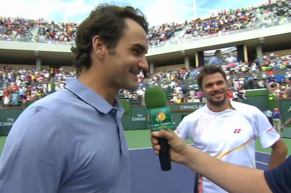 Fed Stan laughing doubles interview 1st round IW 2014
