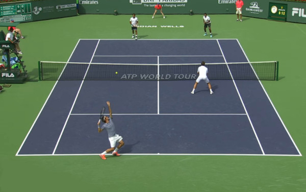 Roger serve Stan doubles 1st round IW 2014