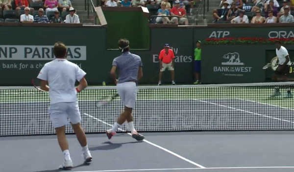 Roger volleying in front of Stan doubles 1st round IW 2014